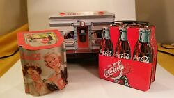 Coca Cola Tin Boxes Lot Of 3 Vintage - 6 Pack Lunch Box Diner Sloped Top