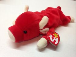 Retired Vintage 1995 Snort Ty Beanie Baby Red Bull Plushie With Tag