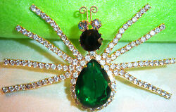 VTG KENNETH J LANE KJL HUGE EMERALD CRYSTAL RHINESTONE SPIDER FIGURAL BROOCH PIN