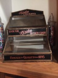 Vintage Country Store Pirika Chocolate Tin And Glass Counter Top Display
