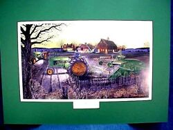 Russell Sonnenberg John Deere 2-cyl. Tractor Deere Harvest - Matted - Signed