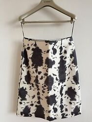 Prorsum Aw13 Womens Printed Leather Skirt Size 8 6 Andpound1595 Retail Dress