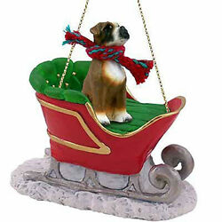 Conversation Concepts Uncropped Boxer Dog Sleigh Dog Holiday Ornament