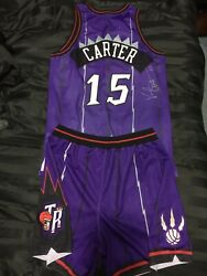 1998-99 Vince Carter Game Used Worn And Signed Jersey w Shorts Toronto Raptors