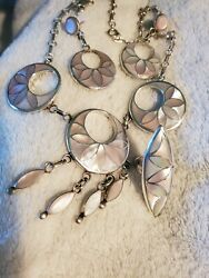 Frank Vacit Zuni Native American Mother Of Pearl Necklace Earrings Ring Set Rare