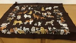 Authentic Chopard Brown Dogs Silk Scarf Italy New Collie Shepard Terrier Basset