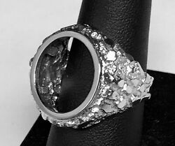14k White Gold 23.5 Mm Nugget Coin Ring For A 2 1/2 Dollar Gold Coin-mount Only