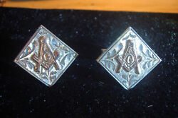 Vintage Masonic 10k And Sterling Cuff Links. By Placine