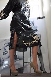 Celebrity Black/gold Party Silk Long Dress List Collezionisequined And Beads M