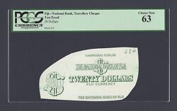 Fiji- National Bank - Travellers Cheque 20 Dollars Test Proof Vignette Unc