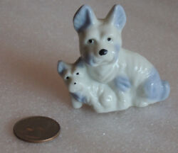 Vintage West Highland Terrier Dog with Puppy KNICK-KNACK 1950s 1960s JAPAN 2.5