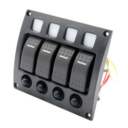 4 Gang Led Rocker Switch Panel With Circuit Breakers For Rv Car Marine Boat