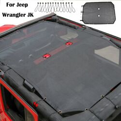 For Jeep Wrangler Jk 4-door Mesh Shade Top Cover Provides Uv Protection Black
