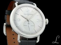 Bell And Ross Vintage Argentium Silber Silver Dial Handaufzug 41mm   Ww1-me-ag-si