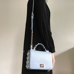 Kate Spade Serrano Place Pearl Blue Maisie Crossbody gold chain leather bag $299 $75.99