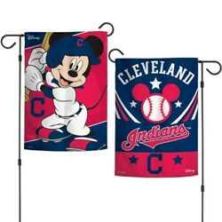 Cleveland Indians Mickey Mouse 2 Sided Garden Flag 12x18 Yard Banner Disney