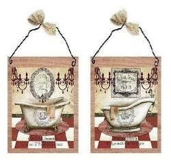 Victorian Pictures Paris Style Red Bathroom Tub Sink Wall Hangings Decor Plaques