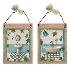 Victorian Pictures Paris Style Blue Bathroom Tub Sink Wall Hangings Plaques