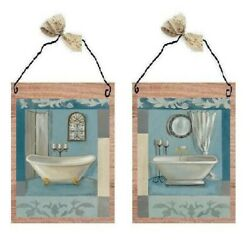 Victorian Pictures Paris Style Blue Bathroom Tubs Bath Wall Hangings Plaques