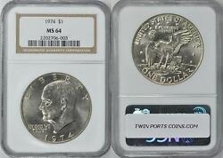 1974 Eisenhower Dollar - Brilliant Uncirculated Ngc Shipping Included 1300