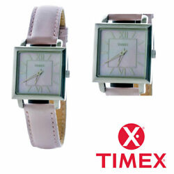 Ladies Watch Timex T2m832 Women Pink Leather Strap Square Face