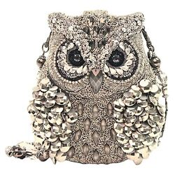 Mary Frances Wisdom Owl Silver Mercury Silver Bag Purse Handbag NEW SHIPS TODAY $339.00