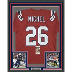 Framed Autographed/signed Sony Michel 33x42 New England Red Jersey Jsa Coa Auto
