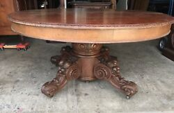Victorian Mahogany Fruit Carved Table With 3 Leaves