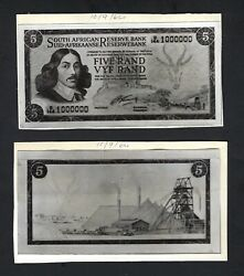 South Africa 5 Rand 10-09-1964 Unissued Design Photographic Proof Unc