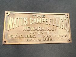 The Watts Campbell Company Steam Engine Vintage Brass Advertising Sign Rare Old