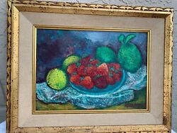 Max Band Listed Artist Still Life Oil Painting Strawberries Signed 1965