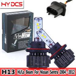 2x H13 9008 Cree Car LED Headlight Turbo HiLo Beam For Nissan Sentra 2004-2012