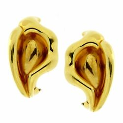 And Co Calla Lily 18k Yellow Gold Earrings
