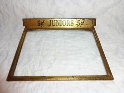 Antique Juniors 5 Cent General Store Advertising Cigar Box Top Glass Cover