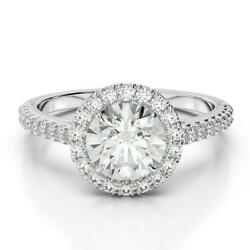 Perfect Gift 1.6 Ct Si1 G Round Cut Accented Diamond Ring 18k White Gold Lady