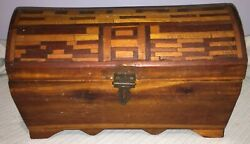 Vintage Hand Carved Wood The Treasure Island Box Girls On Inside Lid And Tray
