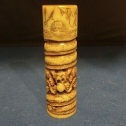 Chinese Hand Carved Jade Wax Seal Cylindrical Stamp 2 Dragons 4h Vintage