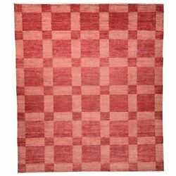 Hand-knotted Modern Checker Design Contemporary Wool Rug 7.11x 9.10 Brral-2565