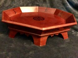 """Vintage Oriental Asian Chinese Lacquered Wood Serving Tray W/legs 14.5"""""""
