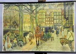 Vintage Picture Historical Wall Chart Kids Room City Life 1900 Horses