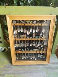 32 Collectible Souvenir Spoons In Wooden And Glass Showcase