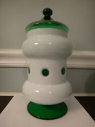 Antique Apothecary Jar Boston And Sandwich Glass Co White Overlay Cut To Green