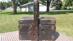 Antique Wood Box Basket W/ Lid And Handle Sewing Picnic Wedding Farm House Deco