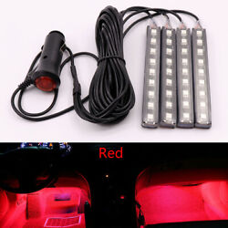 4x Red 9 Led Charge Car Decorative Light Lamps Car Interior Accessories Foot