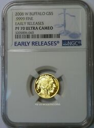2008-W $5 PROOF AMERICAN GOLD BUFFALO 1/10 oz. NGC PF70 UCAM EARLY RELEASES