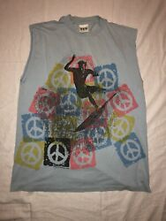 Vintage Sts Graphics Surf Surfing Shirt Peace Signs Beach Skate Skating Board Xl