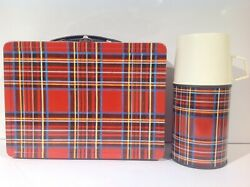 1964 English Plaid Metal Lunch Box With Ultra Rare Correct Thermos From England