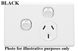 Clipsal C2000 Single Switched Socket 10a Extra Switch Safety Shutter Black