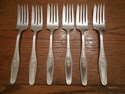 6 National Silver Plate Epns 1920and039s Unknown Pattern Dessert Forks 615