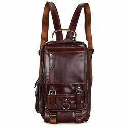 New Women Oil Wax Real Genuine Leather Backpack Travel Bag Handbag Zipper M